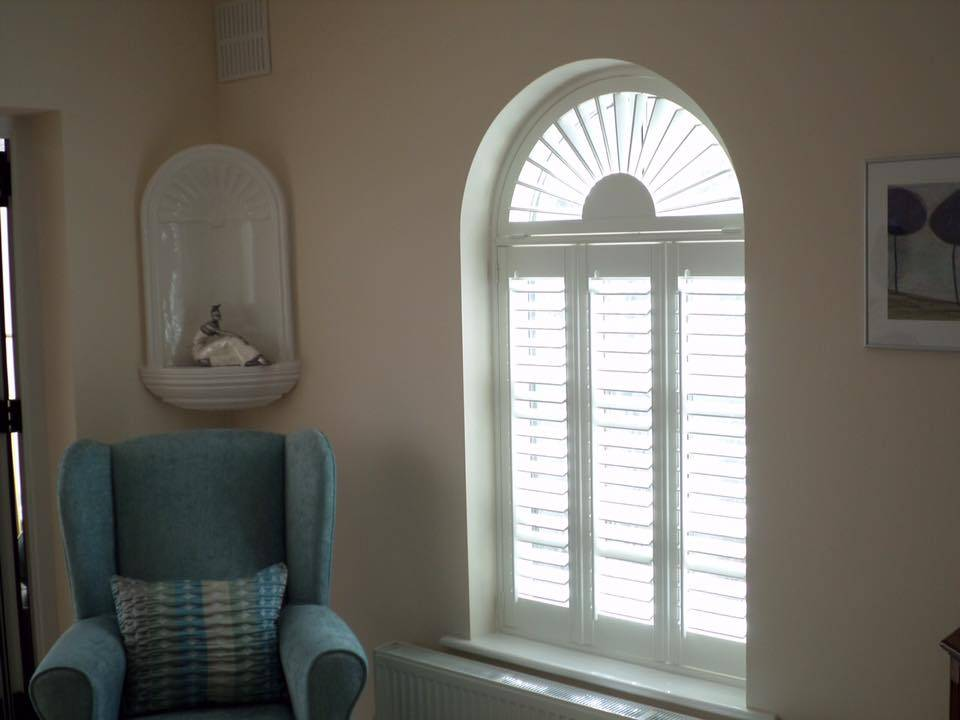 White, Arched Shutters