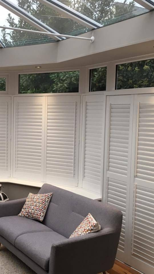 White Wooden Cafe Style Shutter Conservatory Door